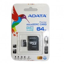 SD XC 64GB ADATA Premier Micro SDXC UHS-I +SDHC Adapter (AUSDX64GUICL10-RA1)