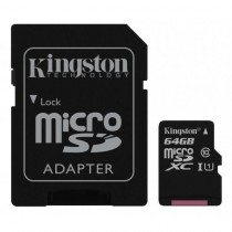 SDXC 64GB Canvas Select, Kingston, SDCS/64GB, microSDXC, adapter, UHS-I, 36mj