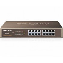 "TP-Link Switch TL-SF1016DS 16-port Unmanaged Switch, 16×10/100M RJ45 ports, 1U 19"" Rack-mountable steel case"