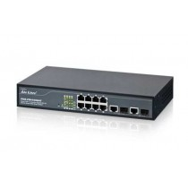 Switch Airlive POE-FSH1008AT, Fast Ethernet 10/100M, 8x, PoE out, rack, managed, 8x 10/100, 4x PoE 10/100, 2x GbE, 2x SFP, crna