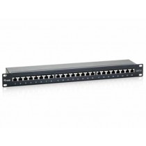 Patch panel Ecolan 37667SW.1V5, crna, 1U, 24p, Cat. 6, STP, s modulima, 12mj