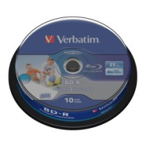 Verbatim BD-R 25GB Wide Inkjet Printable 10 Pack Spindle, max 6x, (43804)