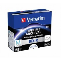 M Disc BD-R Verbatim SL 25GB 4× Printable 5 pack JC (Single Layer) (43823)