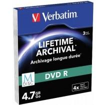 Verbatim M Disc DVDR, Matt Silver, 4.7GB, 3kom, Slim (43826)