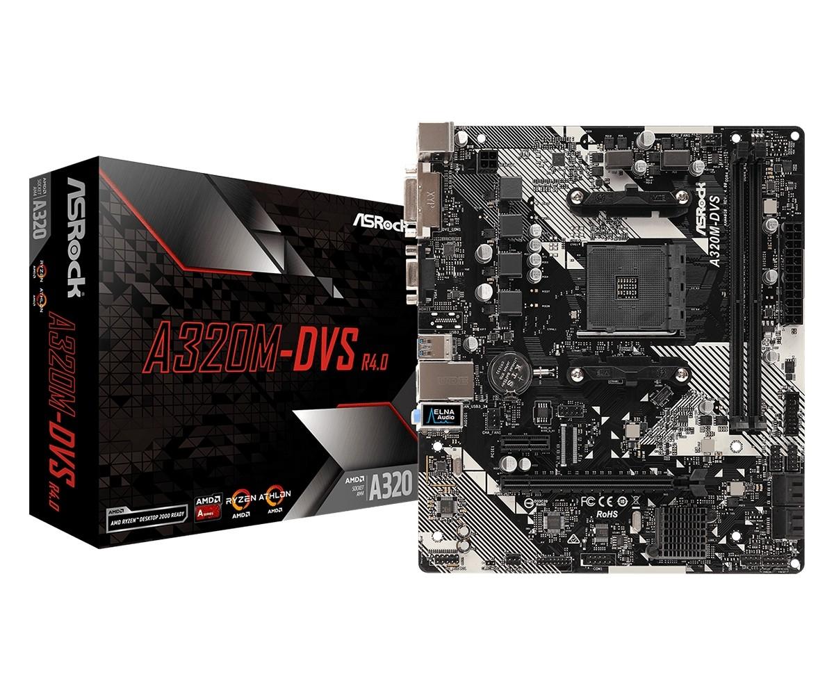 MB ASRock A320M-DVS R4.0, AM4, micro ATX, 2x DDR4, AMD A320, VGA, DVI-D, 36mj (90-MXB9M0-A0UAYZ)
