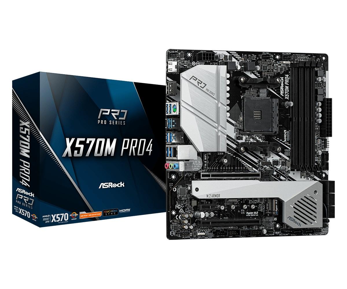 MB ASRock X570M Pro 4, AM4, micro ATX, 4x DDR4, AMD X570, DP, HDMI, 36mj (90-MXBAS0-A0UAYZ)
