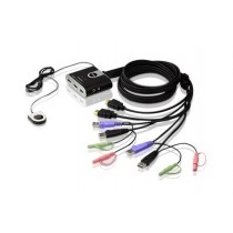 PC Preklopnik KVM Aten 2-Port USB HDMI/Audio Cable KVM Switch with Remote Port Selector, crna (CS692)