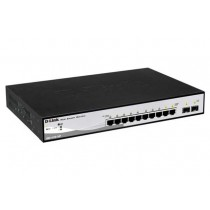 Switch D-Link DGS-1210-10P, Gigabit, 8x, PoE out, rack, managed, 8x GbE, 8x PoE GbE, 2x SFP, crna