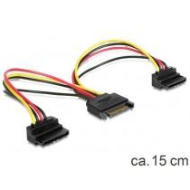 Kabel za SATA naponski kabel Y, SATA (f) na 2×SATA (m) kutni, 15cm (60128)