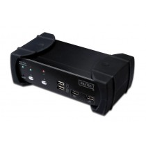 PC Preklopnik KVM Digitus DVI-Audio-USB-KVM switch, 2-port, with integrated USB 2.0 Hub, crna (DS-12820)