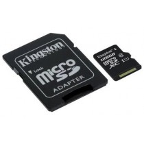 SDXC 128GB Canvas Select, Kingston, SDCS/128GB, microSDXC, adapter, UHS-I, 36mj