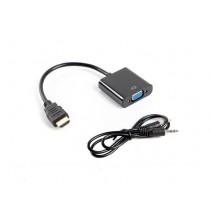 Adapter HDMI(M) na VGA(F), crni, s audio kabelom (AD-0017-BK)