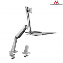 Nosač za Monitor Miš Tipkovnica, Stolni, Maclean Single Display Sit-Stand Workstation Desk Mount, siva, 12mj, (MC-728)