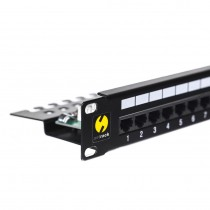 Patch panel 24 ports cat. 6 UTP LSA, with shelf (Netrack 104-08)