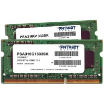 DDR3 16GB (2x8GB), DDR3 1333, CL9, SO-DIMM 204-pin, Patriot PSA316G1333SK, 36mj