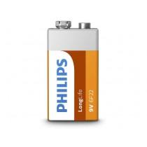 Baterije Philips LongLife 6F22L1B/10, 1x 9V 6F22