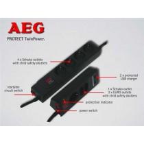 Kabel Razvodnik Naponski AEG Protect TwinPower, crna, Schuko M utikač - Schuko F utičnica, 1.5m, 1x Schuko utikač, 7x Schuko utičnica, prekidač, prenaponska zaštita (600 000 7749)