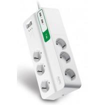 Kabel Razvodnik Naponski APC PM6U-GR, bijela, Schuko M utikač - Schuko F utičnica, 1.83m, 1x Schuko utikač, 6x Schuko utičnica, prekidač, prenaponska zaštita