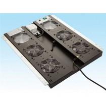 "Ormar Ventilator 19"" HCS C00-02B14, crna, 1U, (d)1000mm,  fiks. u 4 točke, 4 x vent., prekidač, termostat"