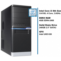 PC HomeWare, i3-8100-S240-8D4-iUHD630-MT, crna/srebrna, Intel Core i3 8100 3.6GHz, 240GB SSD, 4GB, Intel UHD 630, Minitower, 24mj