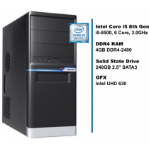 PC HomeWare, i5-8500-S240-8D4-iUHD630-MT, crna/srebrna, Intel Core i5 8500 3GHz, 240GB SSD, 4GB, Intel UHD 630, Minitower, 24mj