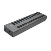 USB HUB USB 3.0 Charging HUB 13 port with Power Adapter 60W, crna, USB3.0, USB3.0, 24mj, (U3CHARGEHUB13)