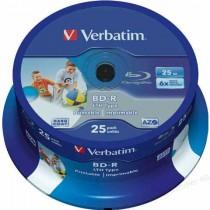 BD-R Verbatim 6x SL, LTH, 25 kom, 25GB, 135min, spindle, printable, 43771-25 (1kom)